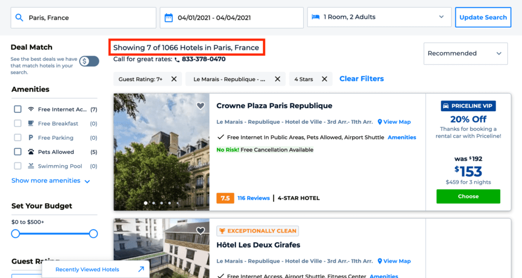 priceline express deals hotel list
