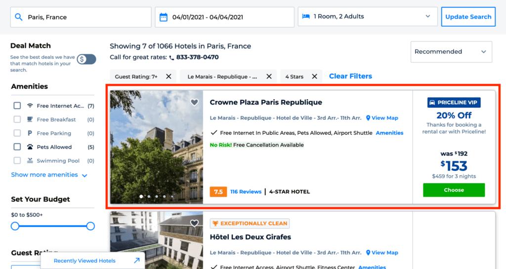 priceline express deals hotel list crowne plaza