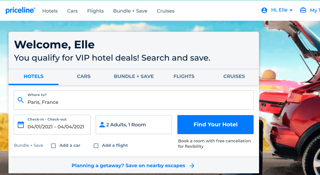 priceline express deals search