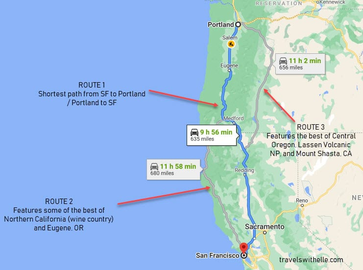 San Francisco to Portland Road Trip Routes - Travels With Elle