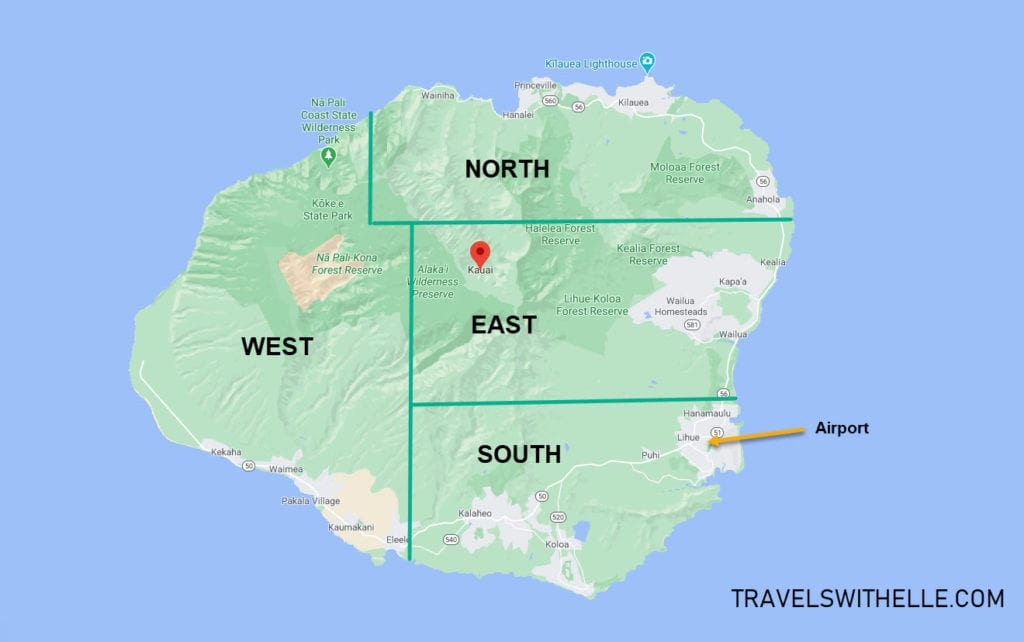 kauai island overview map