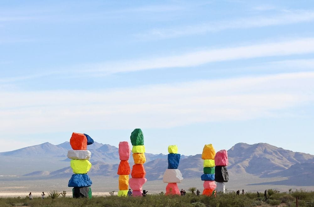 Seven Magic Mountains - Best Las Vegas to Los Angeles Road Trip Stops - Travels With Elle