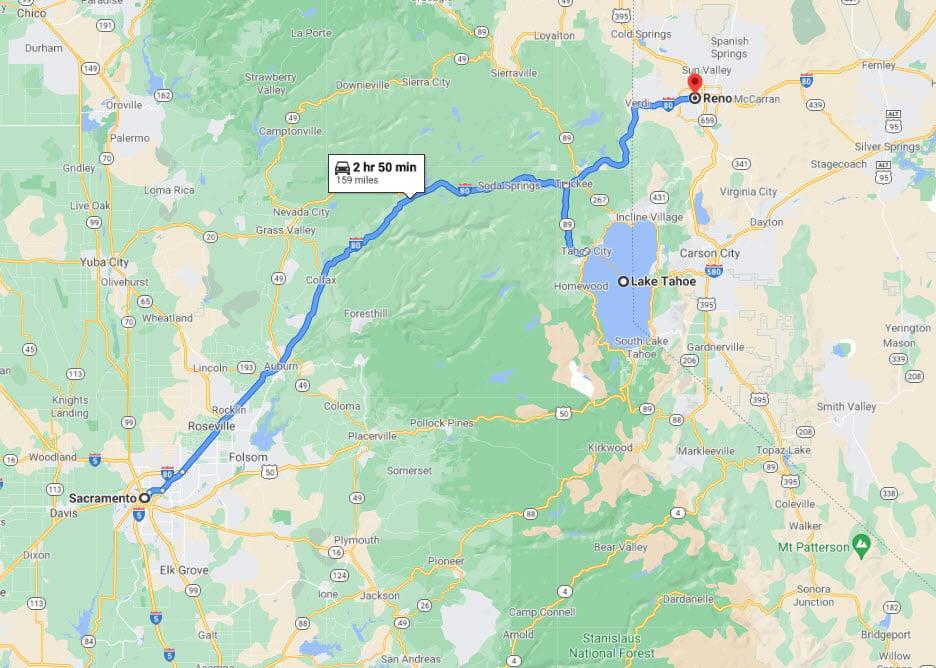 Sacramento to Reno Map - TravelsWithElle