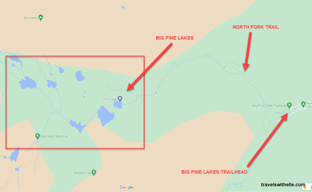 Big Pine Lakes North Fork Trail Map - TravelsWithElle